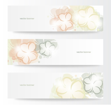 Vector beautiful horizontal floral banners  Stock Vector - 13969376