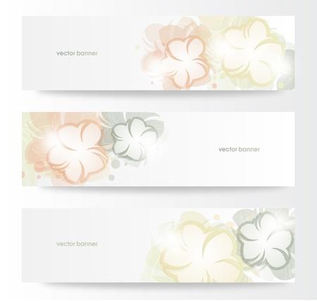 Vector beautiful horizontal floral banners Stock Vector - 13969376