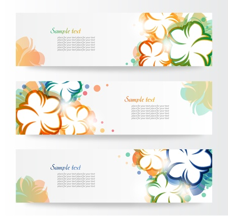 Set Of Floral Header  Vector Illustration