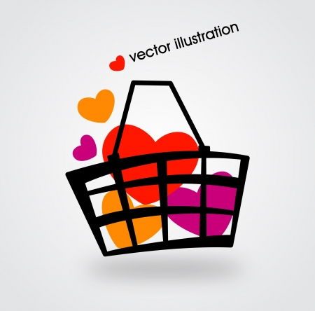 supermarket checkout: Basket and multicolored percent  Illustration
