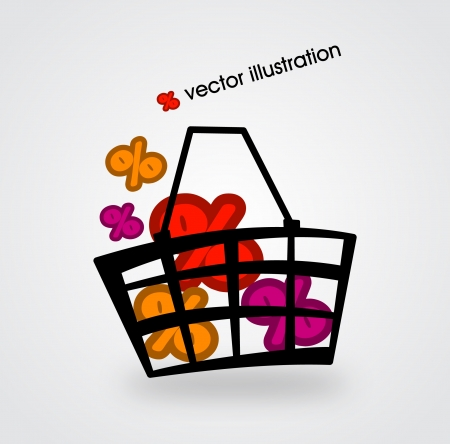 supermarket checkout: Basket and multicolored percent signs illustration