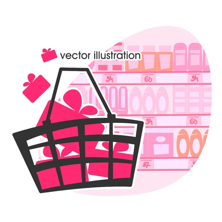 Shopping basket with gifts illustration  Vector