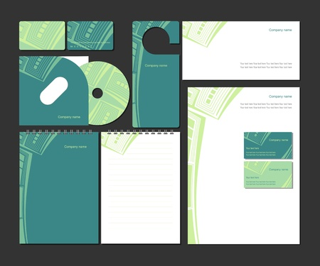 Corporate identity in green colors  Vector