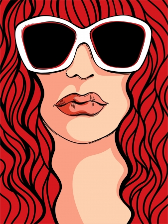 redheaded: Portrait of young beautiful woman wearing white sunglasses  Illustration
