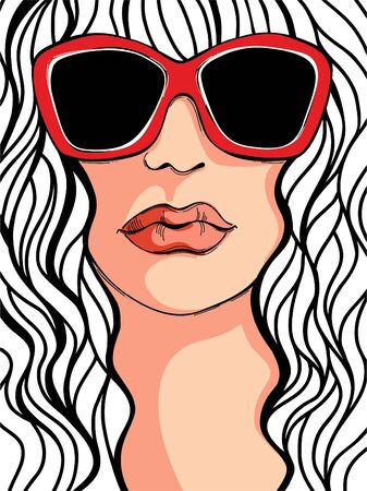 sun tanning: Fashion illustration of a girl in sunglasses  Illustration