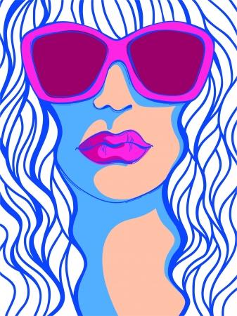 sehkraft: Pop Art Woman in sunglasses_Fashion Darstellung