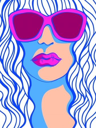 protective spectacles: Pop Art Woman in sunglasses_Fashion illustration