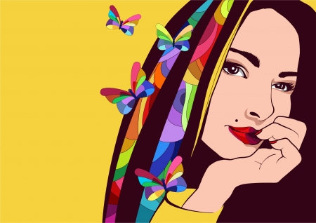 illustration of an attractive girl with colored hair and fantasy butterflies  Vector
