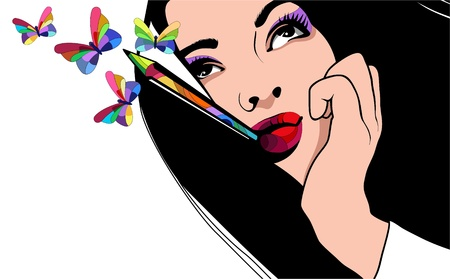 Portrait of a beautiful girl with a colored pencil in his mouth and butterflies around Vector