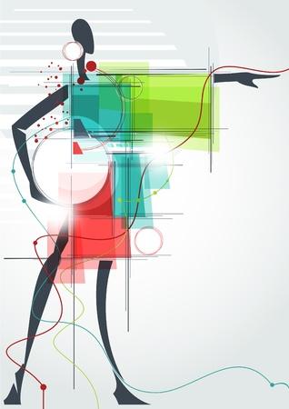 Moda background_The abstrakcyjna figura dziewczyny w sukience