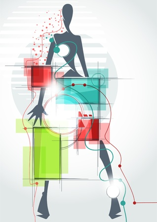 Fashion background_The abstract figure of a girl in a dress Illustration