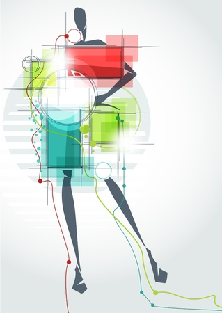 Fashion background_The abstract figure of a girl in a dress Vector