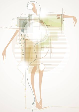 Futuristic abstract background with girl  Vector
