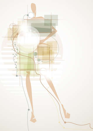 futuristic girl: Futuristic abstract background with girl
