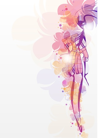 Girl with flowers_Fashion background  Vector