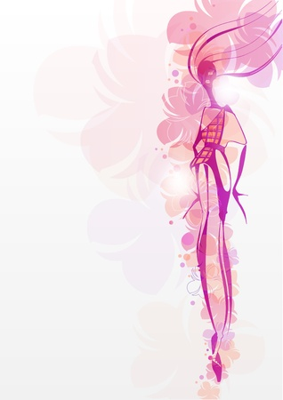 Floral background with a female silhouette_Fashion illustration Vector