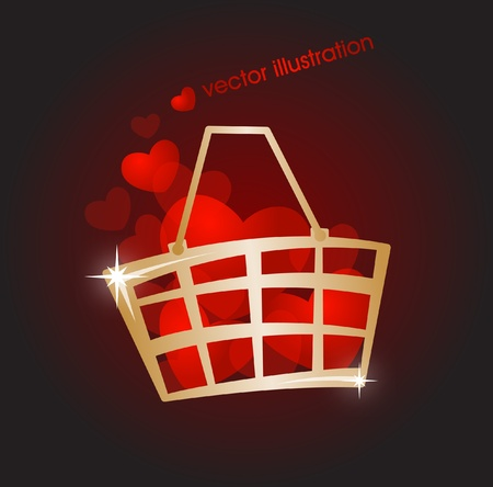 Gold market basket filled with red hearts Vector