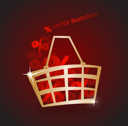 Gold market basket filled with red percents Vector
