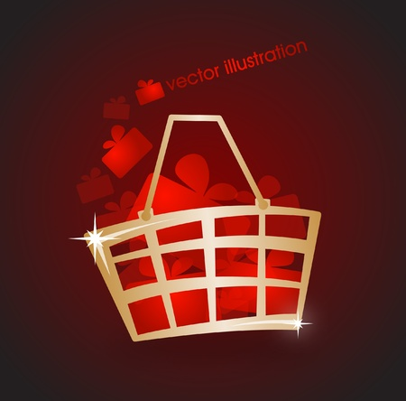 Gold market basket filled with red gifts Vector