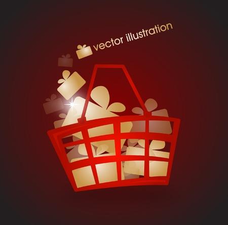 gift basket: Shopping basket filled with gold gifts  Illustration
