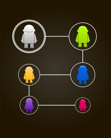 Sociaal netwerk concept_Vector illustratie met kleurrijke kleine mannen Vector Illustratie