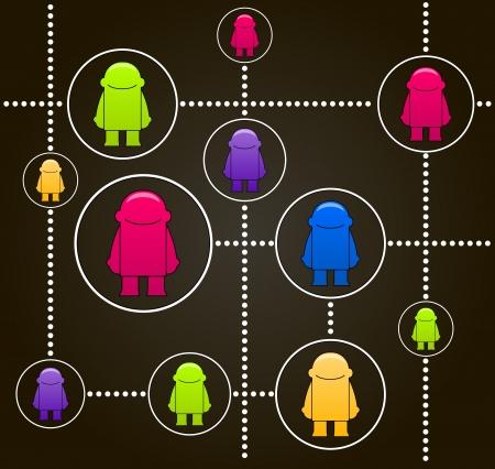 socializando: La red social la ilustración concept_Vector con coloridos pequeños hombres