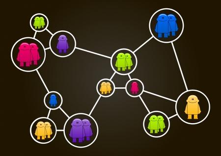 socializando: Ilustración del concepto de red social con coloridos pequeños hombres