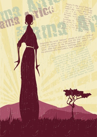 savanna: African landscape with women silhouettes_Vector background