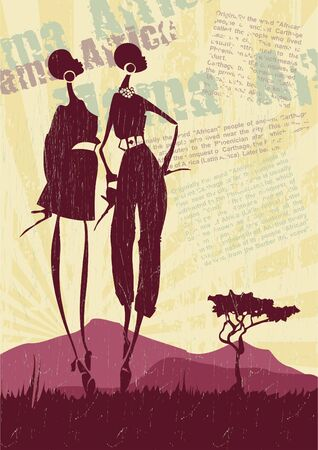 African landscape with women silhouettes_Vector background Vector