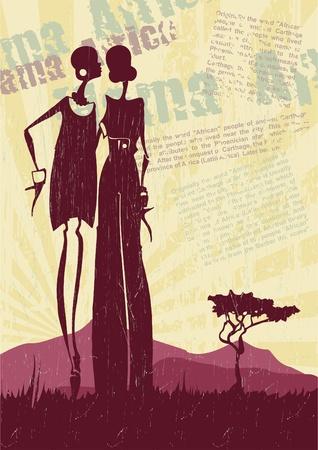 ilustraciones africanas: Paisaje con una ilustración mujer africana Vectores
