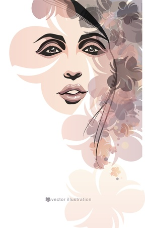 Girl and flowers_Fashion illustration  Vector