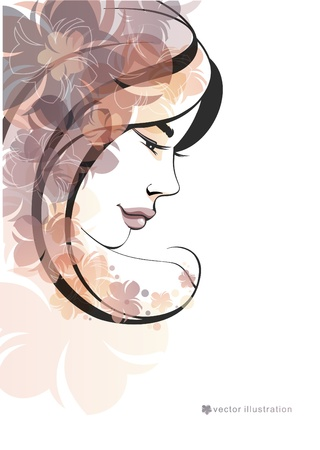Girl and flowers_Fashion illustration