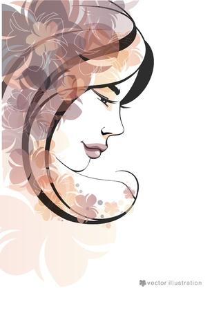 dark hair: La muchacha y la ilustraci�n flowers_Fashion
