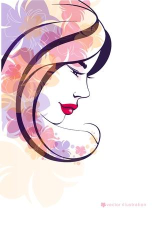 Portret pretty girl na tle pięknej flowers_eps10