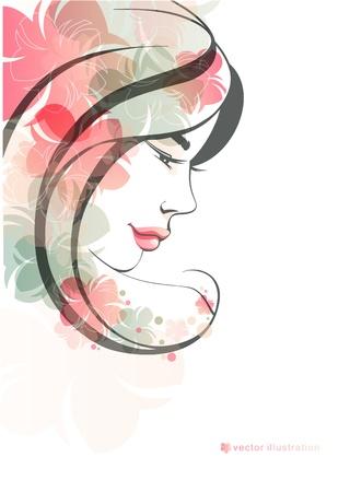 visage femme profil: Mode fille avec des fleurs Illustration
