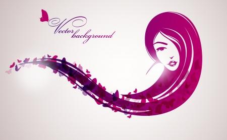dark hair: Mujer con mariposas Vectores
