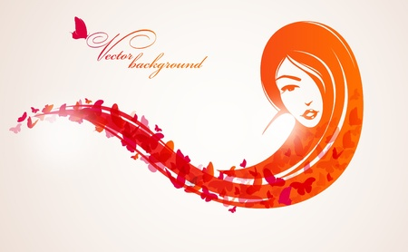 Girl with long hair and butterflies. Place for your text Vector