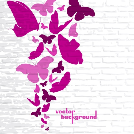 Pink butterflies on a wall background Stock Vector - 14771212