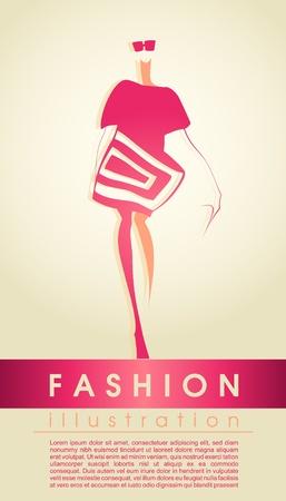 Sylwetka dziewczyny moda Ilustracja