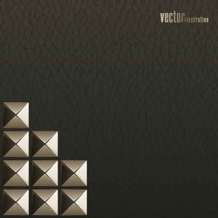 Metal rivets on the black leather_Fashion background Vector