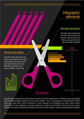 chancellery: Infographics elements with a scissors  Illustration