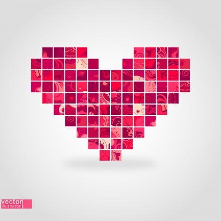 Heart mosaic_Vector illustration
