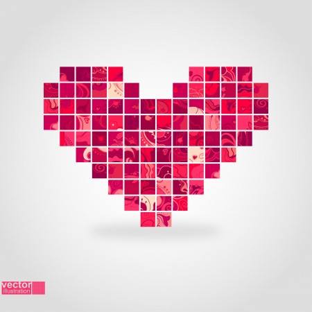 pixels: Heart mosaic_Vector illustration