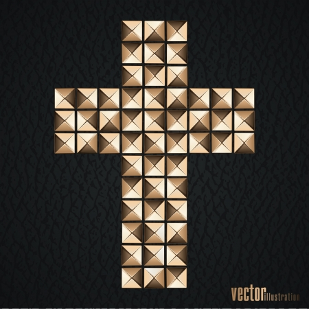 Cross of metal rivets of metal rivets on the black leather background  Vector