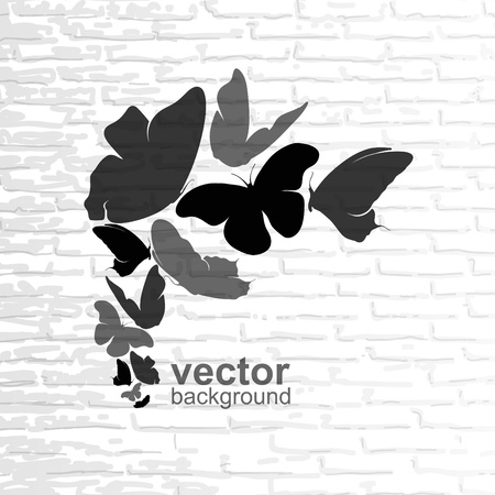Abstract illustration with butterflies on a background wall  Stock Vector - 15441965