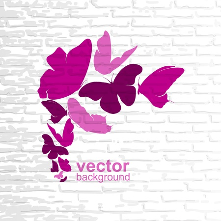 Pink butterflies on a wall background Stock Vector - 15305547