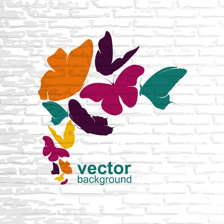 White brick wall with colored butterflies  Stock Vector - 15632138
