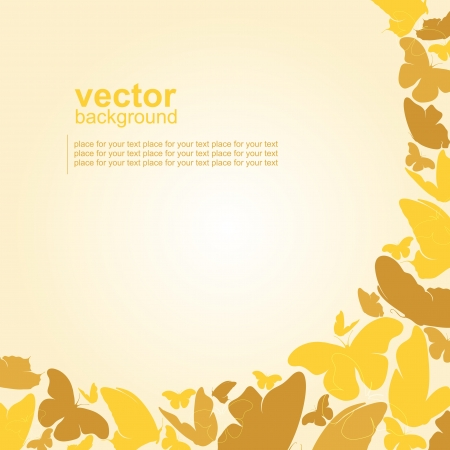 abstract yellow background with butterflies Stock Vector - 15906333