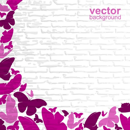 Pink butterflies on a wall background  Vector
