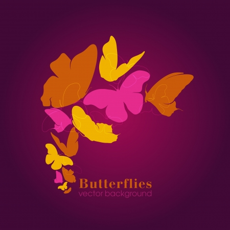 vinous: Vector Butterflies Background Design  Illustration
